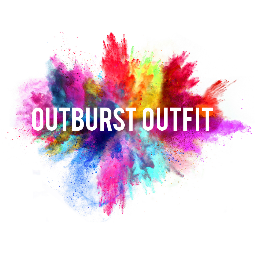 "Live Improv. A colourful explosion with the words ""Outburst Outfit""."